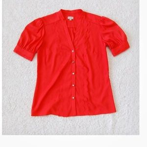 Anthropologie cremieux Coral scallop Top